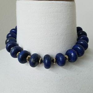 Lapis Lazuli Blue Chunky Bead Necklace